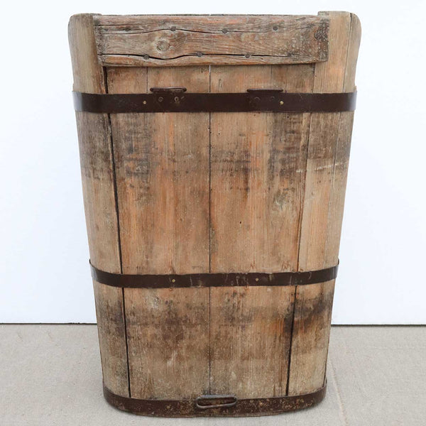 French Provincial Pine Grape Picking Harvest Bucket / Hod (Hotte)