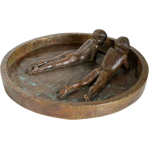 Signed American Art Deco Gilt Bronze Sculptural Birdbath with Two Children