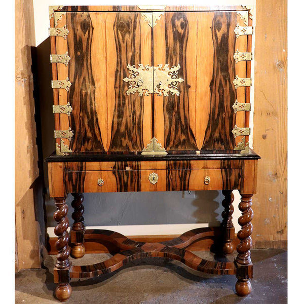 English William and Mary Brass Mounted Coromandel Veneer Cabinet on Stand