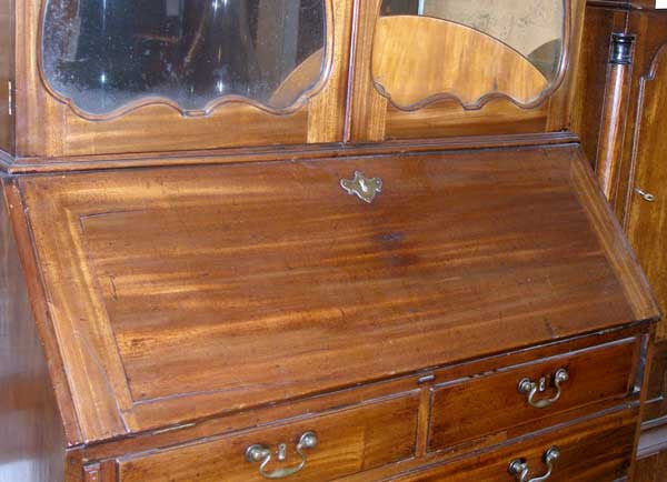 English George III Mahogany Secretaire Bookcase