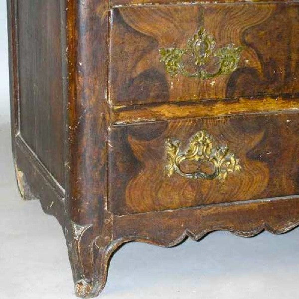 French Louis XV Period Grain Painted Oak Commode