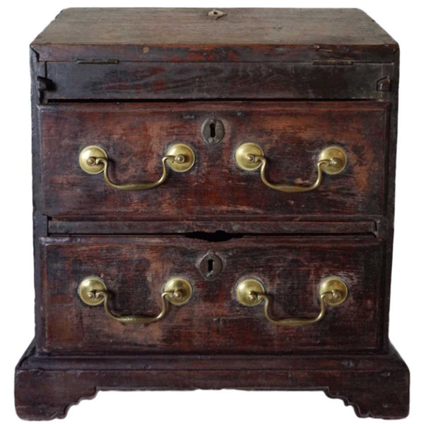 Anglo Indian Chippendale Teak Table-Top Writing Chest