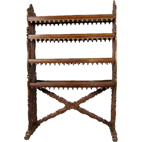 Indo-Portuguese Carved Rosewood Open Bookcase Shelf