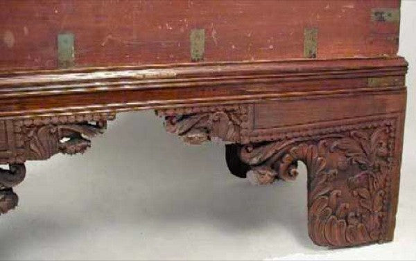 Anglo Indian Brass Mounted Mahogany Trunk on Stand