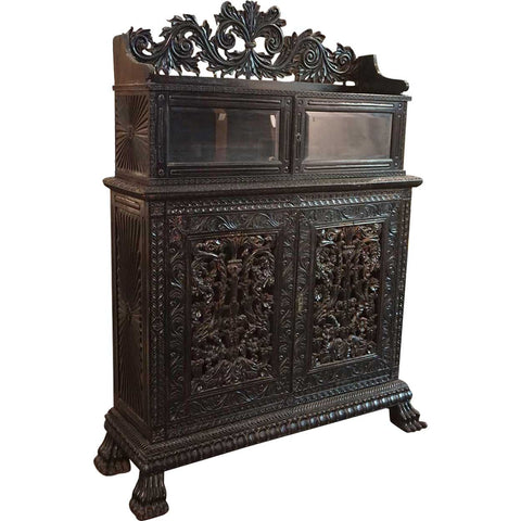 Indo-Portuguese Ebonized Rosewood Two-Part Cabinet - Antique Side Cabinets