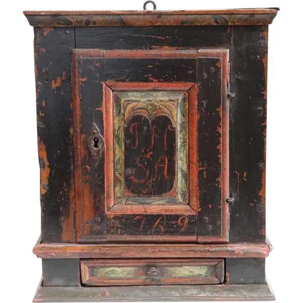 Small Danish Painted Pine Hanging Cupboard - Antique Small Danish Painted Pine Hanging Cupboard