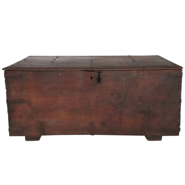 Early Indo-Portuguese Flat-top Iron Mounted Wooden Trunk