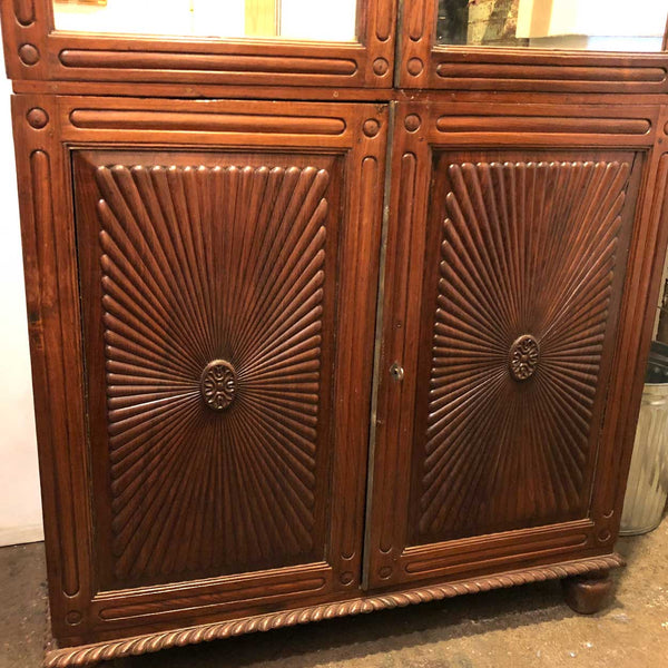 Indo-Portuguese Rosewood Mirrored Linen Press Cabinet