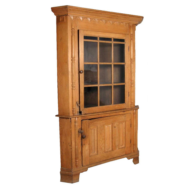 Important American Federal Pine Glazed Door Corner Cabinet