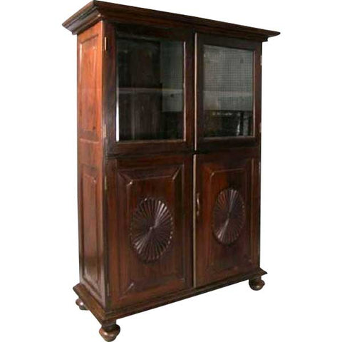 Anglo Indian Rosewood Glazed Door Bookcase Cabinet