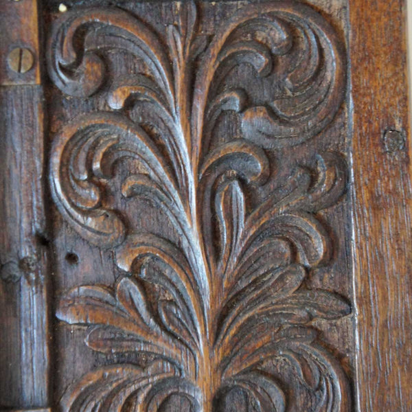 Small Scandinavian Carved Oak One-Door Cupboard