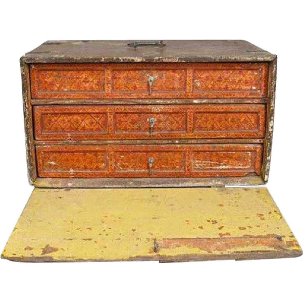 Indo-Portuguese Painted Silver Mounted Contador Table-top Cabinet