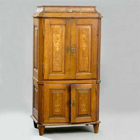 German Baroque Inlaid Oak Cabinet