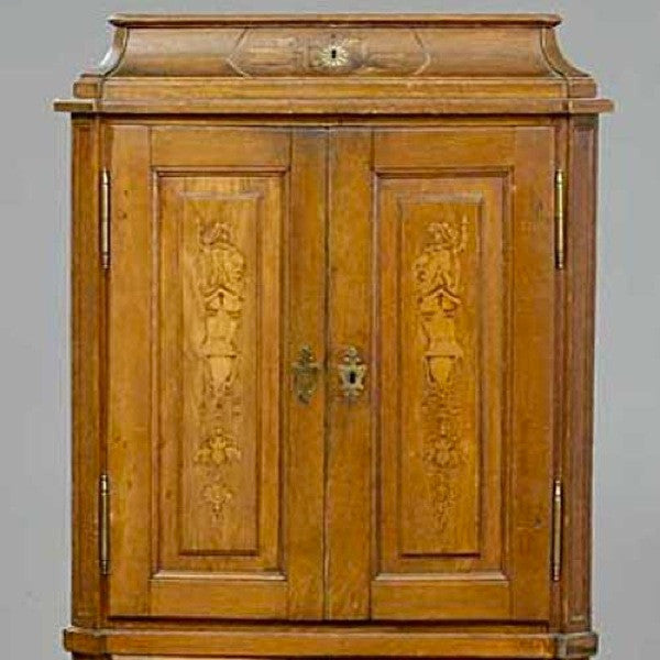 German Baroque Inlaid Oak Two-Part Side Cabinet
