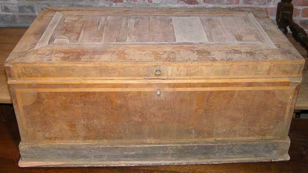 Rare Mexican Colonial Veneered Pine Blanket Chest