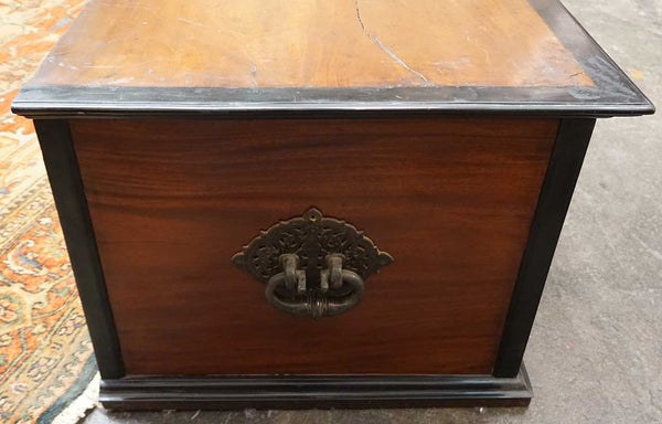 Large Dutch Colonial Mahogany and Ebony Blanket Chest