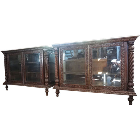 Pair of Anglo Indian Marble Top Rosewood Display Cabinets