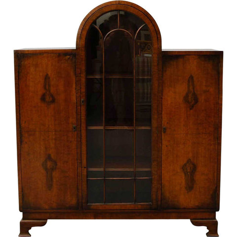 Small English Art Deco Walnut Display Cabinet