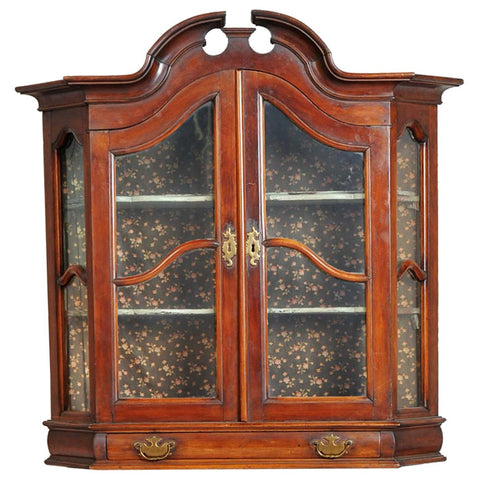 Northern German Mahogany Veneer Hanging Display Cabinet