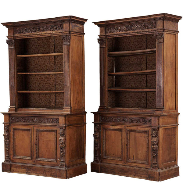 Pair of Large Italian Renaissance Revival Walnut Open Bookcase Cabinets