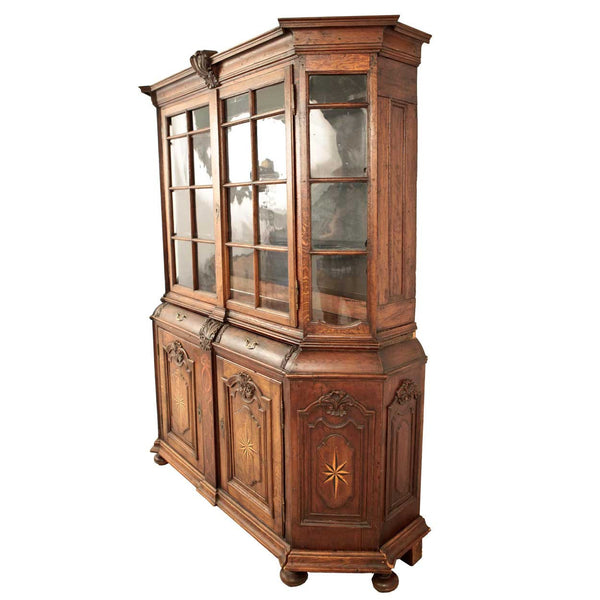 Dutch Baroque Inlaid Oak Glass Display Cabinet