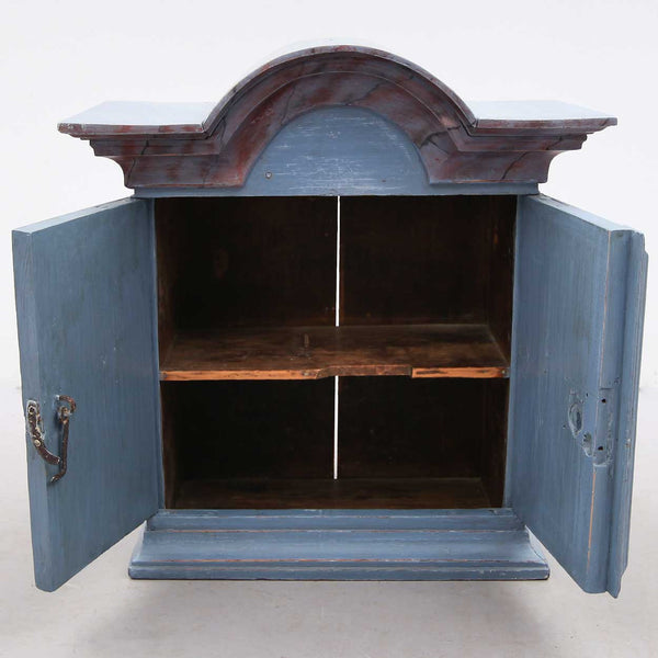 Small Swedish Baroque Painted Pine Hanging Cupboard