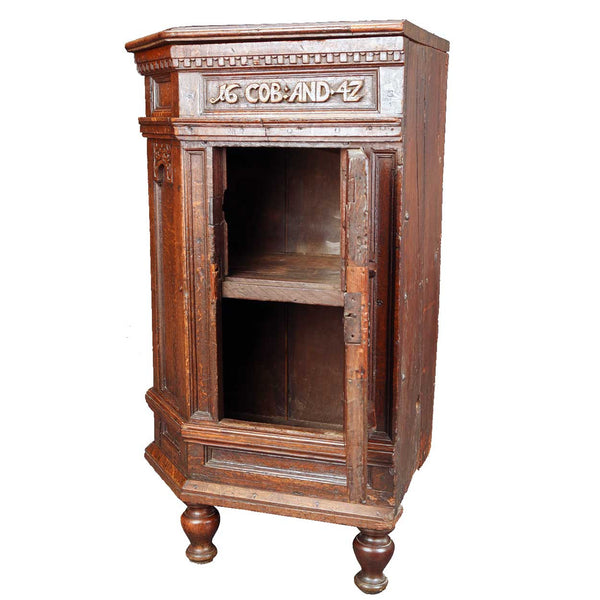 Swedish Baroque Oak Corner Cabinet