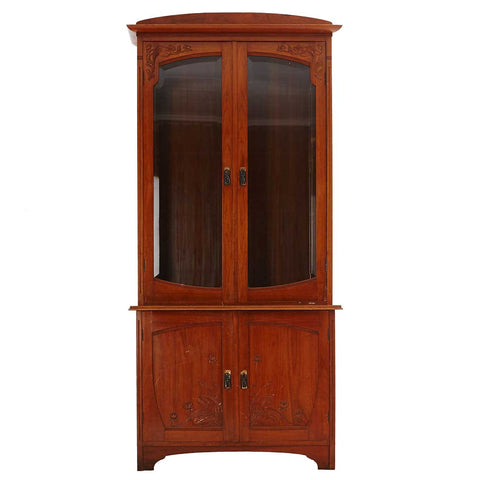 Swedish Jugendstil Art Nouveau Glazed Door Mahogany Veneer Bookcase