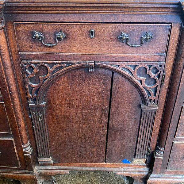 English Chippendale Oak Dresser Base / Sideboard Cabinet