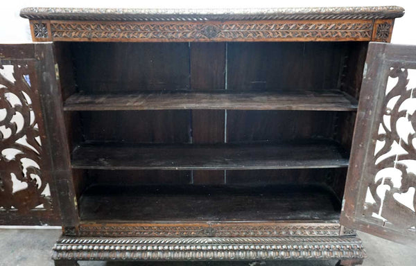 Indo-Portuguese Rosewood Sideboard / Bookcase Display Cabinet