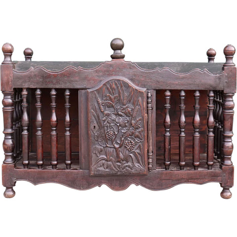 French Provincial Dark Walnut Hanging Bread Cupboard (Panetiere)