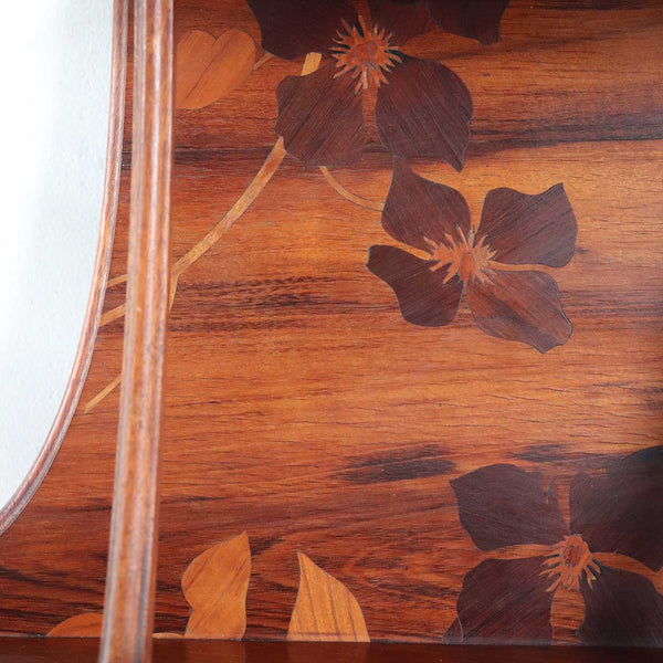 French CAMILLE GAUTHIER Art Nouveau Clematis Floral Marquetry Hanging Open Shelf
