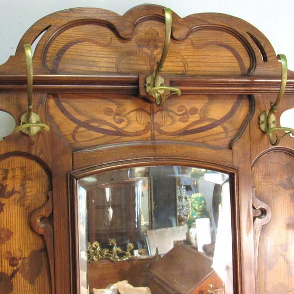 French Art Nouveau Ecole de Nancy Oak Marquetry and Beveled Mirror Hall Tree