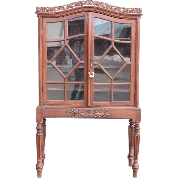 Indo-Portuguese Rosewood Glazed Door Display Bookcase Cabinet on Stand