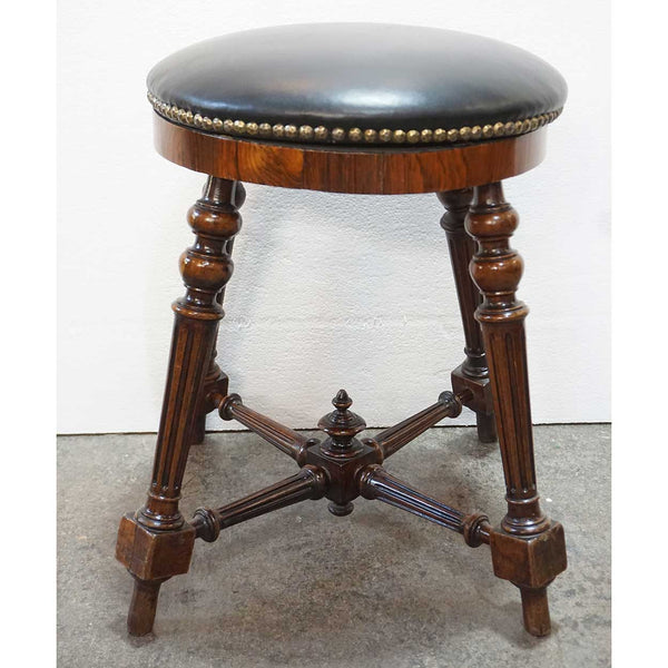 French Rosewood and Black Nailhead Leather Round Piano Stool