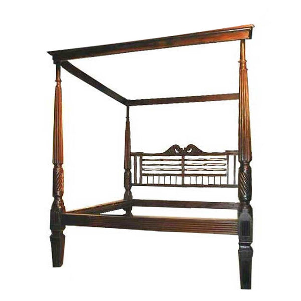 Large Anglo Indian Solid Rosewood Four-Poster Tester Palace Bed