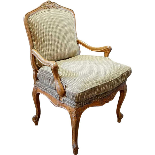 Swedish Gustavian Beech Upholstered Armchair