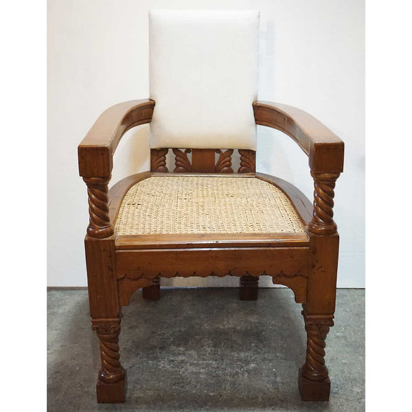 Anglo Indian Eastlake Caned Teak Club Armchair