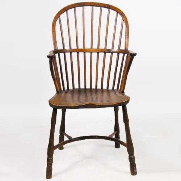 English Georgian Elm and Yew Windsor Armchair