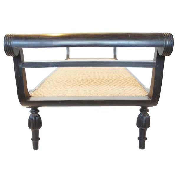 Anglo Indian Empire Period Caned Ebony Daybed