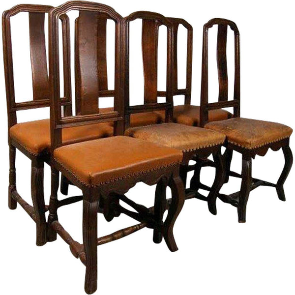 Assembled Set of Six Scandinavian Baroque Style Oak Dining Side Chairs