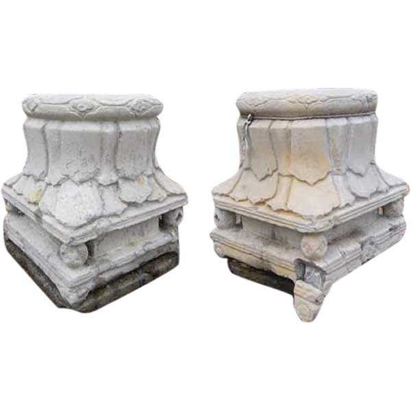 antique pair of chinese shanxi province stone pillar capitals