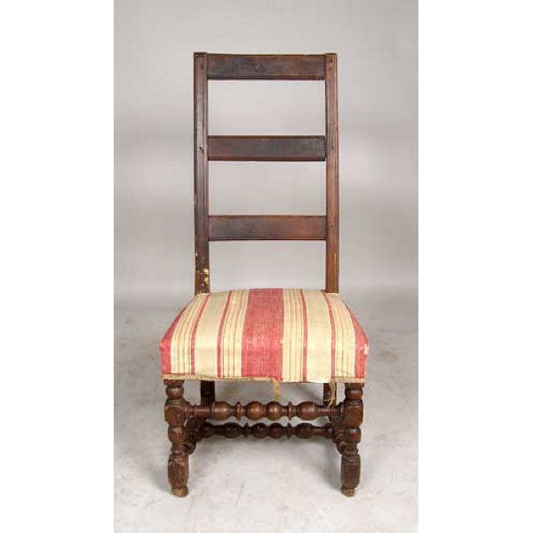 French Provincial Louis XIV Walnut Ladderback Side Chair