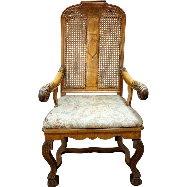 Scandinavian Regence Caned Walnut Armchair