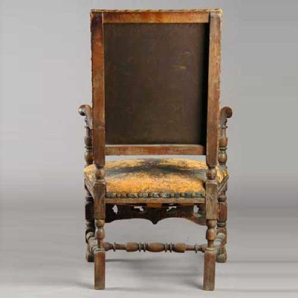 Swedish Baroque Oak and Leather Armchair