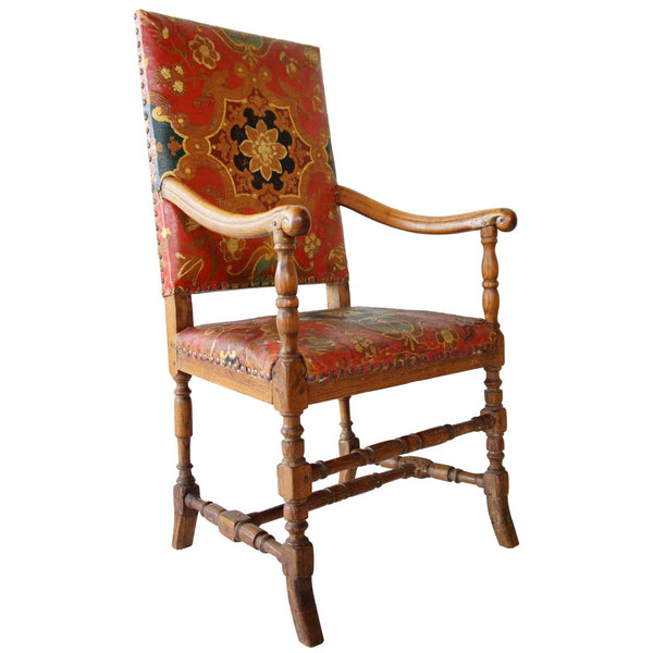 Scandinavian Baroque Leather and Oak Armchair