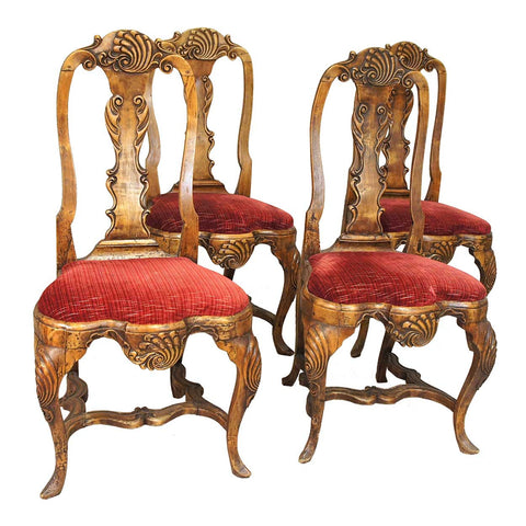Set of Four Scandinavian Rococo Birch Dining Side Chairs
