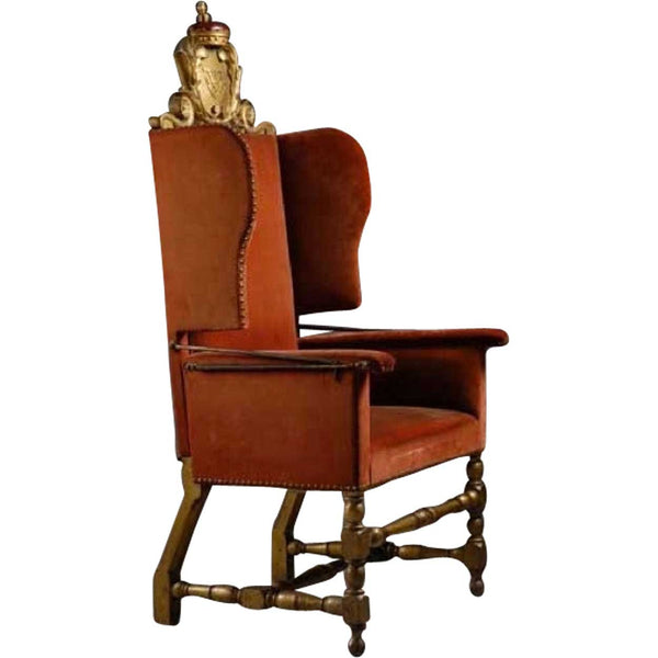 Danish Royal Frederick IV Baroque Birch Wingback Reclining Armchair