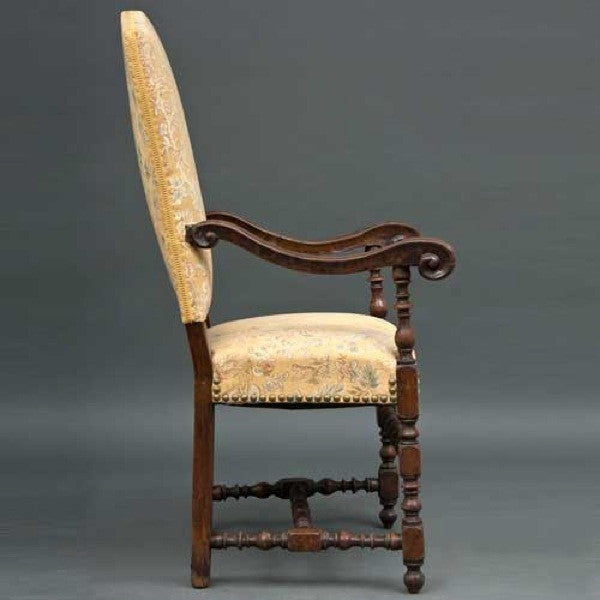 Italian/Spanish Baroque Walnut Upholstered Armchair
