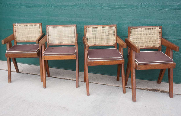 Collection of Four PIERRE JEANNERET Teak Conference Chairs from Chandigarh, India